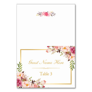 Elegant Chic Pink Floral Wedding Place Escort Table Number