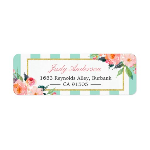 Elegant Chic Pink Flowers Mint Green Stripes Label