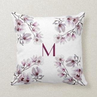 Elegant chic pink magnolia spring floral monogram throw pillow