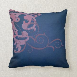 Elegant Chic Pink Scroll Blue Mojo Pillow