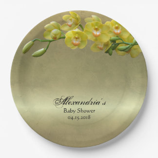 Elegant Chic Platinum Yellow Floral Baby Shower Paper Plate