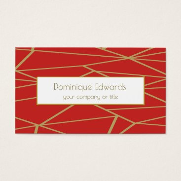 Elegant Chic Red  Abstract Gold Professional Business Card