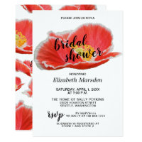 Elegant Chic Red Poppies Floral Bridal Shower Invitation
