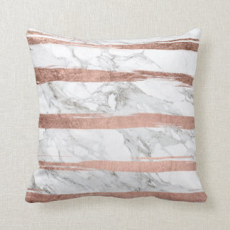 Elegant chic rose gold brush stripes white marble throw pillow