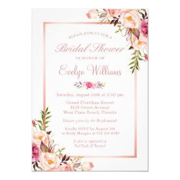 CardHunter Elegant Chic Rose Gold Floral Bridal Shower Card