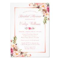 Elegant Chic Rose Gold Floral Bridal Shower Invitation