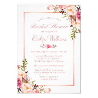 Elegant Chic Rose Gold Floral Bridal Shower Invitation