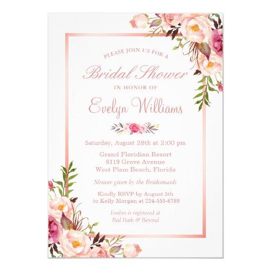 Elegant Chic Rose Gold Floral Bridal Shower Invitation Zazzlecom