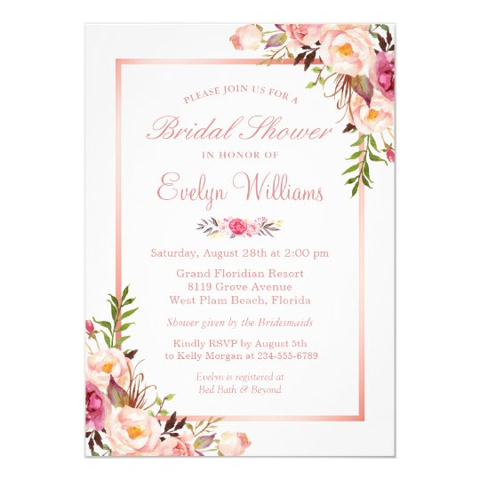 Elegant Chic Rose Gold Floral Bridal Shower Invitation ...