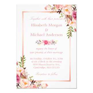 Gold wedding invitations with pink border