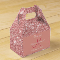 Elegant Chic Rose Gold Monogram Wedding Favor Favor Box