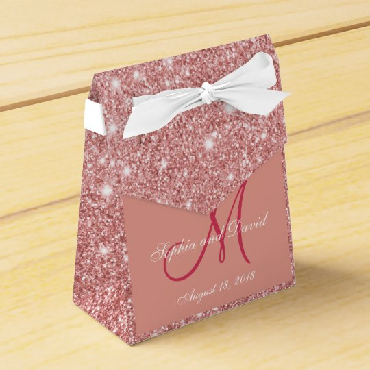 Elegant Chic Rose Gold Monogram Wedding Favor Favor Box Zazzle