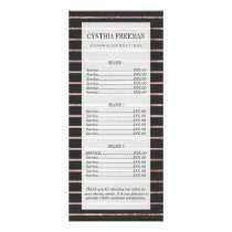 Elegant Chic Rose Gold Stripes and Black Rack Card