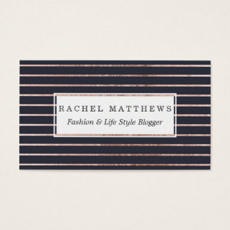 Elegant Chic Rose Gold Stripes and Navy Blue Business Card