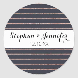 Elegant Chic Rose Gold Stripes and Navy Blue Classic Round Sticker
