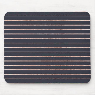 Elegant Chic Rose Gold Stripes and Navy Blue Mouse Pad