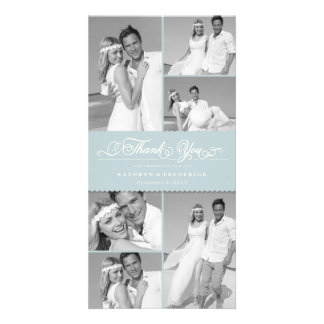 Elegant Chic Scalloped Blue Band Wedding Thank You Card
