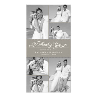 Elegant Chic Scalloped Gray Band Wedding Thank You Card