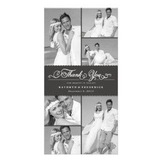 Elegant Chic Scalloped Gray Band Wedding Thank You Photo Card