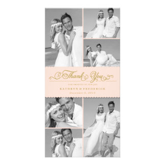 Elegant Chic Scalloped Pink Band Wedding Thank You Card