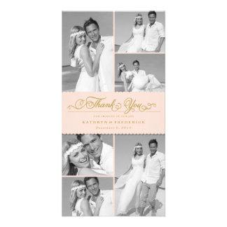 Elegant Chic Scalloped Pink Band Wedding Thank You Photo Card