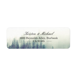 Elegant Chic Seasonal Pine Trees Forest Label