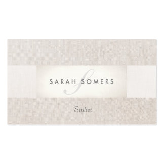 Elegant Chic Silver Classy Striped Beige Monogram Business Card