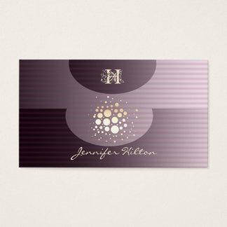 Elegant chic stripes confetti ellipse monogram business card
