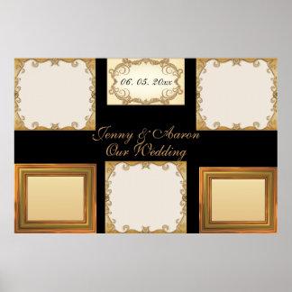 Elegant Chic, Stylish Golden Photo Frames Wedding Poster