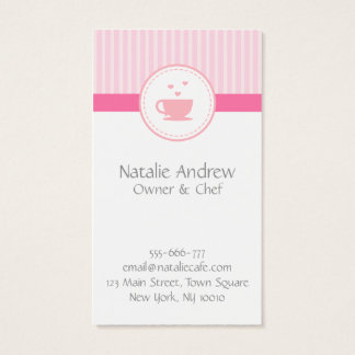 Elegant, Chic, Sweet Pink, Cafe or Tea House Business Card