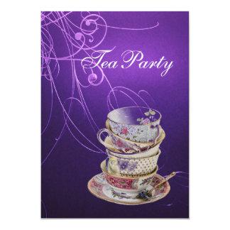 elegant chic swirls vintage purple tea party card