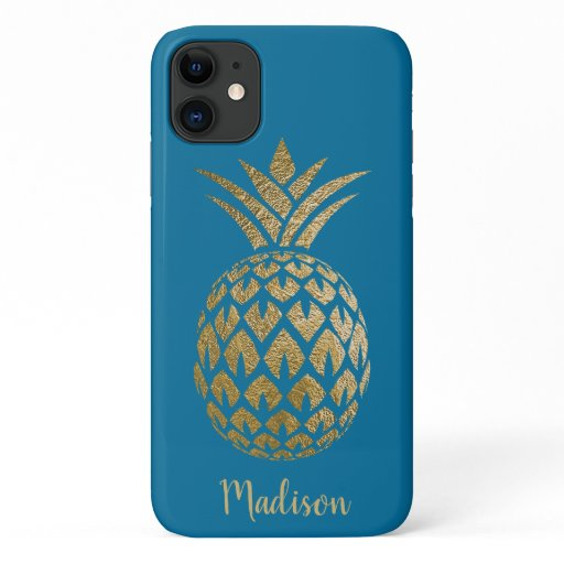 Elegant Chic Teal Blue Gold Pineapple Teal Custom iPhone 11 Case