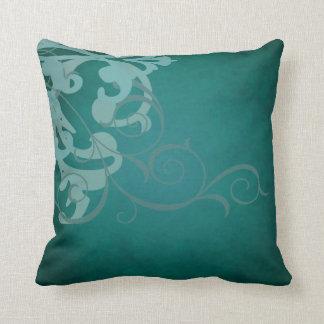 Elegant Chic Teal Scroll Teal Mojo Pillow