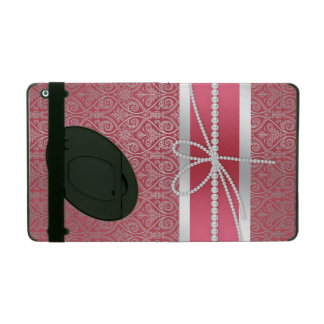 Elegant chic trendy silver effects damask pattern iPad cases