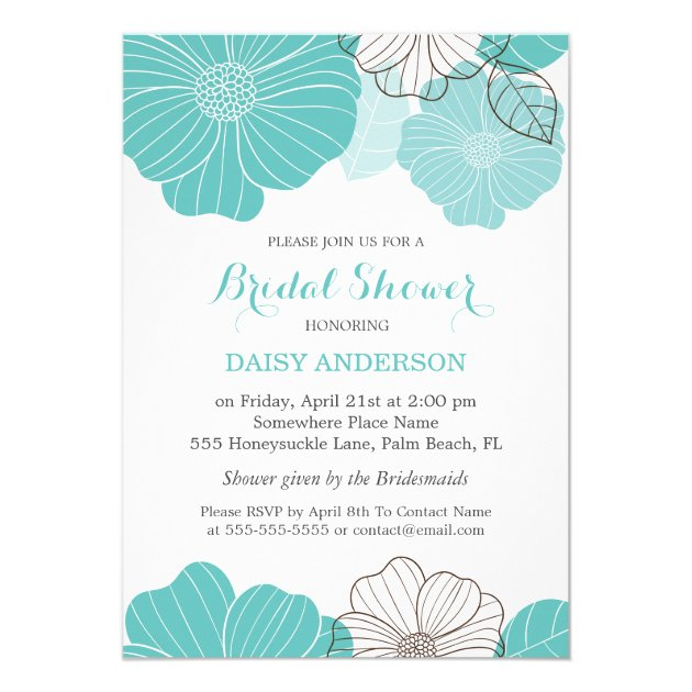 Elegant Chic Turquoise Green Floral Bridal Shower 5x7 Paper Invitation Card