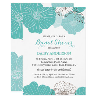 Elegant Chic Turquoise Green Floral Bridal Shower Card