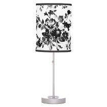 Elegant chic vintage black  white floral pattern desk lamp