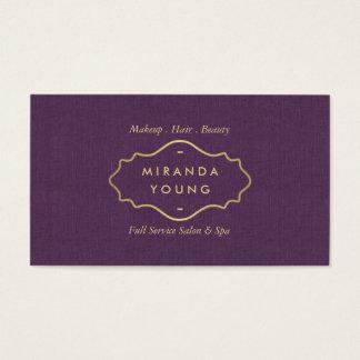 Elegant Chic Vintage Gold Emblem Salon, Spa Purple Business Card