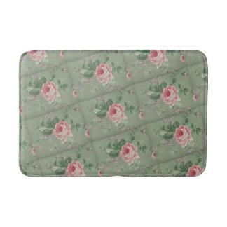 Elegant Chic Vintage Pink Rose Flowers Bathroom Mat