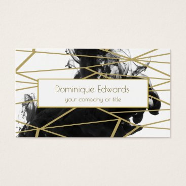 Elegant Chic Watercolor Black  Gold Professional Business Card