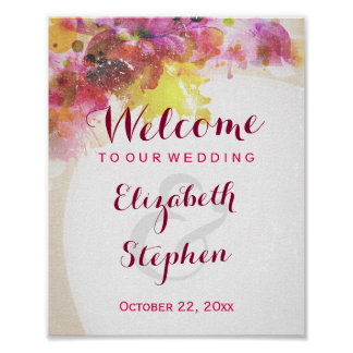 Elegant Chic Watercolor Floral Wedding Sign Poster
