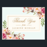 """Elegant Chic Watercolor Flowers Thank You Postcard<br><div class=""""desc"""">Elegant Chic Watercolor Flowers Thank You Postcard.  (1) For further customization,  please click the &quot;customize further&quot; link and use our design tool to modify this template.  (2) If you need help or matching items,  please contact me.</div>"""