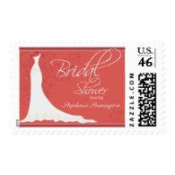 Elegant chic wedding dress bridal shower stamp