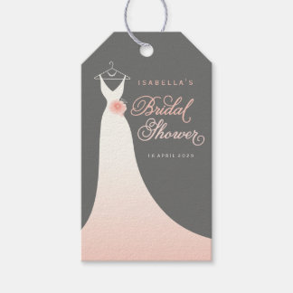 Elegant Chic Wedding Gown Bridal Shower Gift Tags