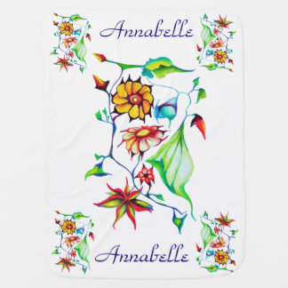 Elegant Chic Whimsical Enchanting Exotic Floral Receiving Blanket