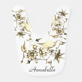 Elegant Chic Whimsical Enchanting Exotic Sepia Baby Bib