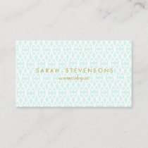 Elegant Chic White and Turquoise Lattice Pattern Business Card