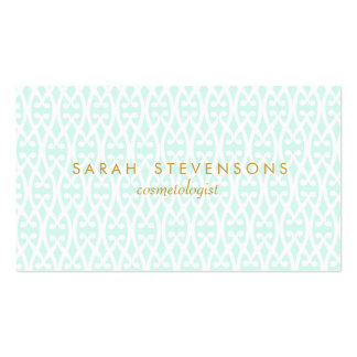 Elegant Chic White and Turquoise Lattice Pattern Double-Sided Standard Business Cards (Pack Of 100)