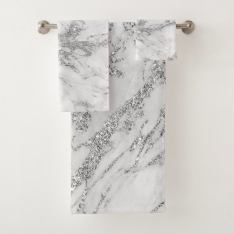 Elegant chic white gray silver glitter marble bath towel set
