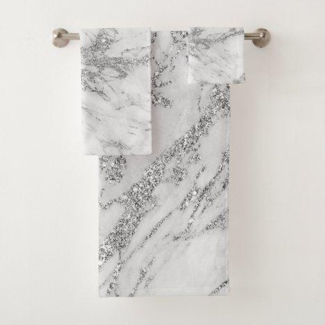 Elegant chic white gray silver marble bath towel set